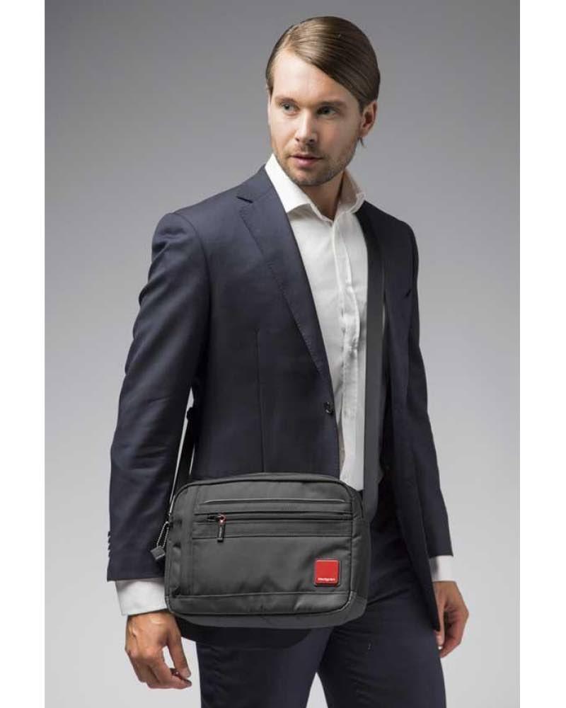 details for Discover special promotion Hedgren ENGINE Men's Horizontal Shoulder Bag with Tablet Pocket - Black