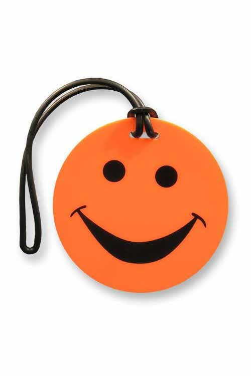 Smiley Face Luggage Tags : Neon Orange