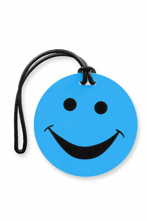 Smiley Face Luggage Tags : Cyan