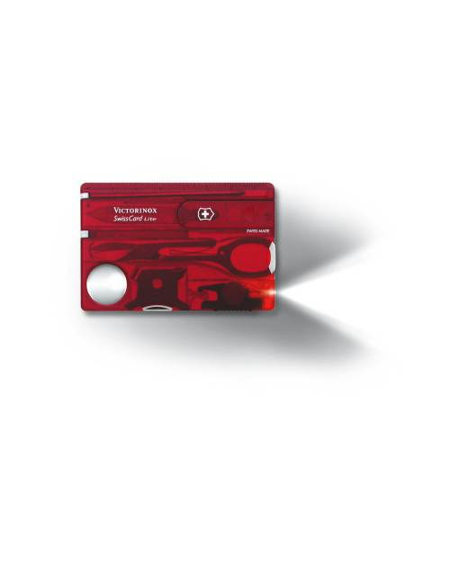SwissCard Lite with LED - Translucent Red : Victorinox