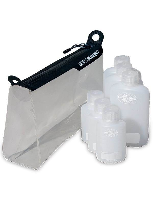 Travel Zip Top Pouch & Leak Proof Bottle Set : TPU Clear : Travelling Light : Sea to Summit
