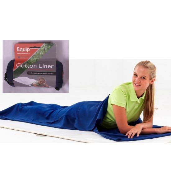 Cotton Sleeping Bag Liner with Pillow Insert - Treated : Equip Safety First