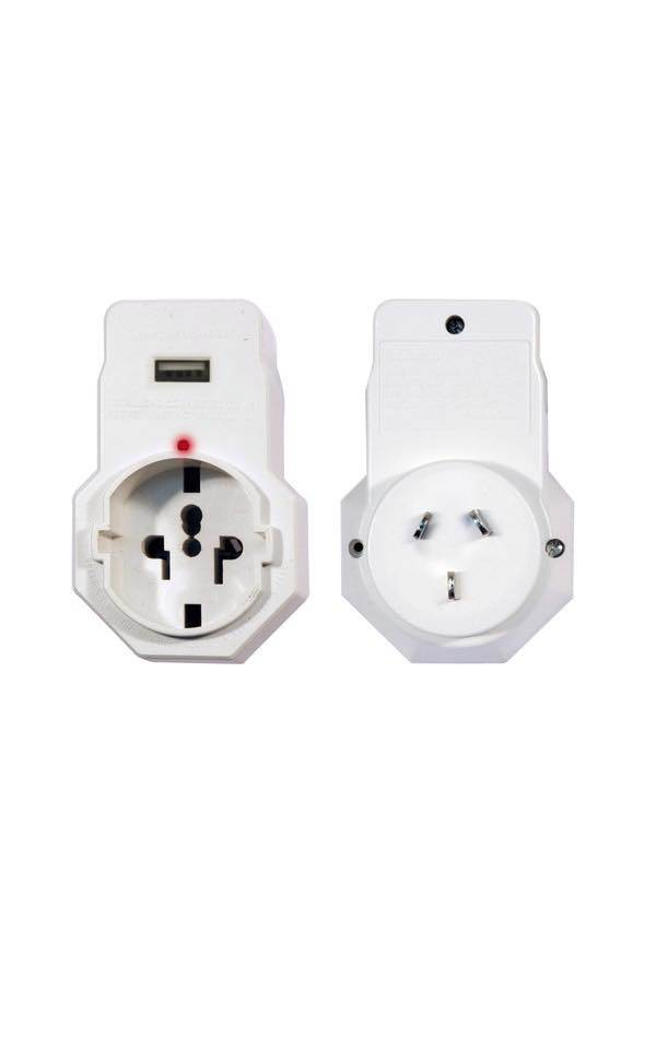 USA and Asia to AU : International Travel Adaptor with USB charging outlet : Jackson