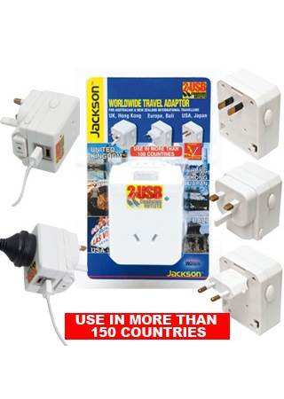 Travel Plug Adaptor : 150 Countries : 2x USB Charger Sockets : AU to Worldwide : Jackson