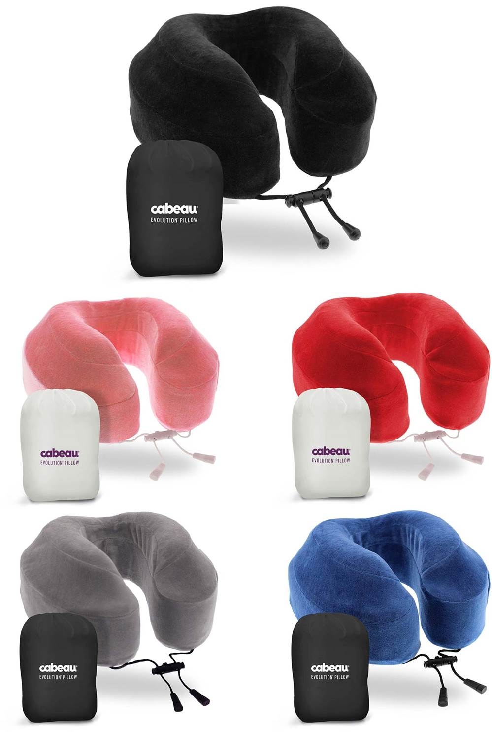 Cabeau Evolution Memory Foam Travel Pillow With Ear Plugs