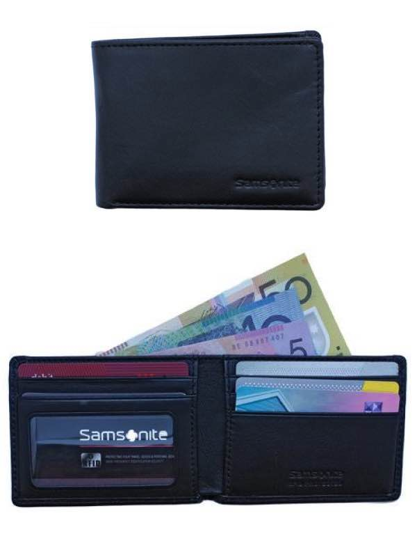 RFID Blocking Leather Wallets : Compact Wallet - Black : Samsonite