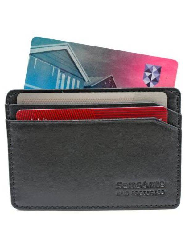 RFID Blocking Leather Wallets : Credit Card Holder - Black : Samsonite