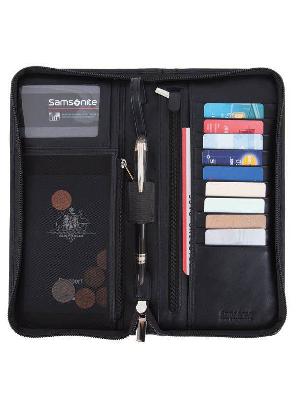 RFID Blocking Leather Wallets : Executive Travel Wallet - Black : Samsonite