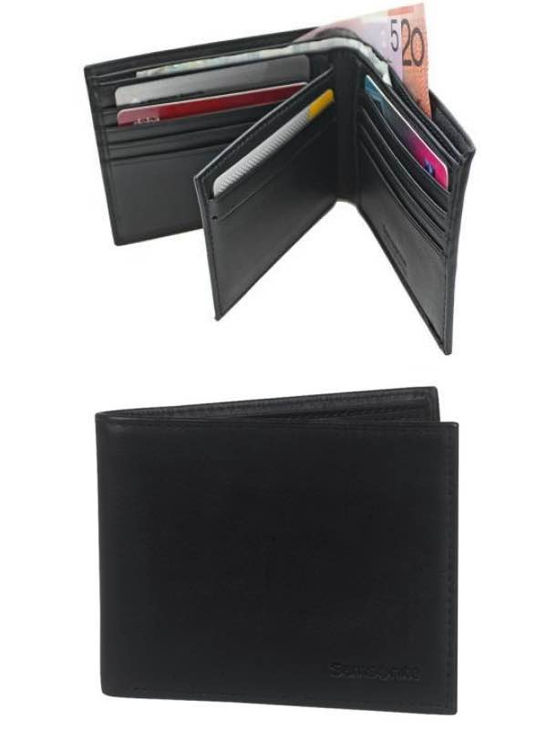 RFID Blocking Leather Wallets : Wallet with Credit Card Flap - Black : Samsonite