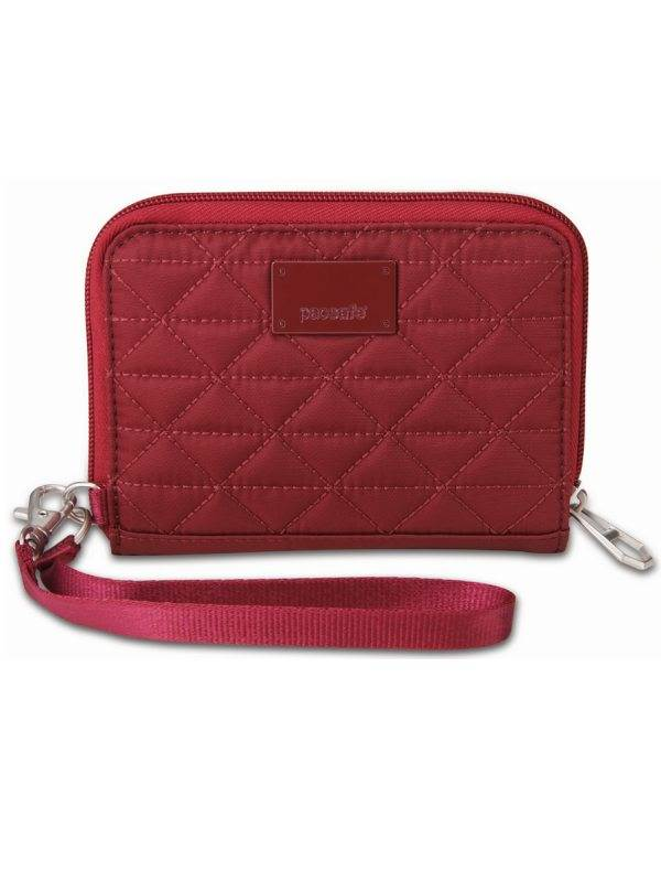 RFIDsafe W100 : Women's RFID Blocking Wallet - Cranberry : Pacsafe