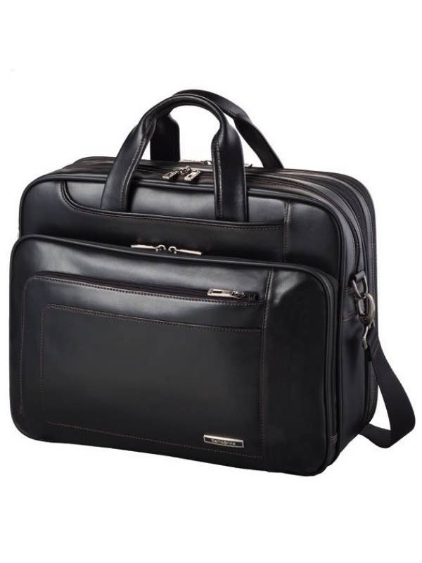 Savio Leather III : Large Laptop Briefcase - Black : Samsonite