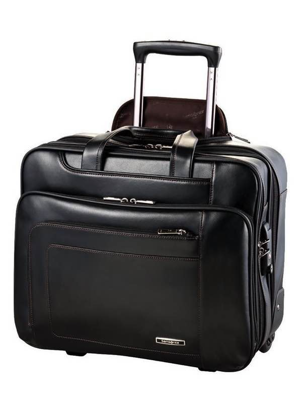Savio Leather III : Rolling Laptop Tote - Black : Samsonite