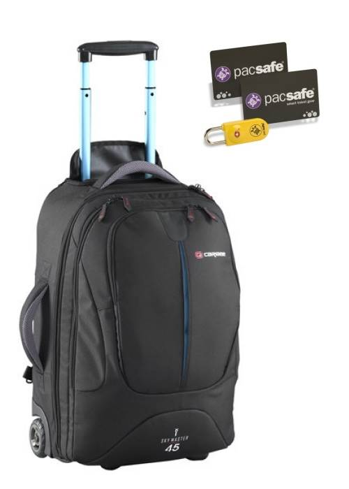 Sky Master 45 Wheeled Trolley Backpack - Black : Caribee (Bonus TSA Key-Card Lock)