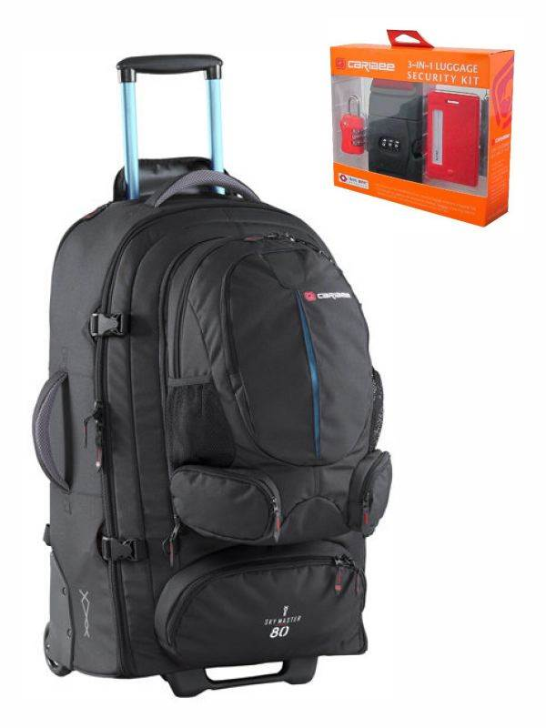 Sky Master 80 Wheeled Trolley Backpack - Black/Blue : Caribee (Bonus Security Kit)