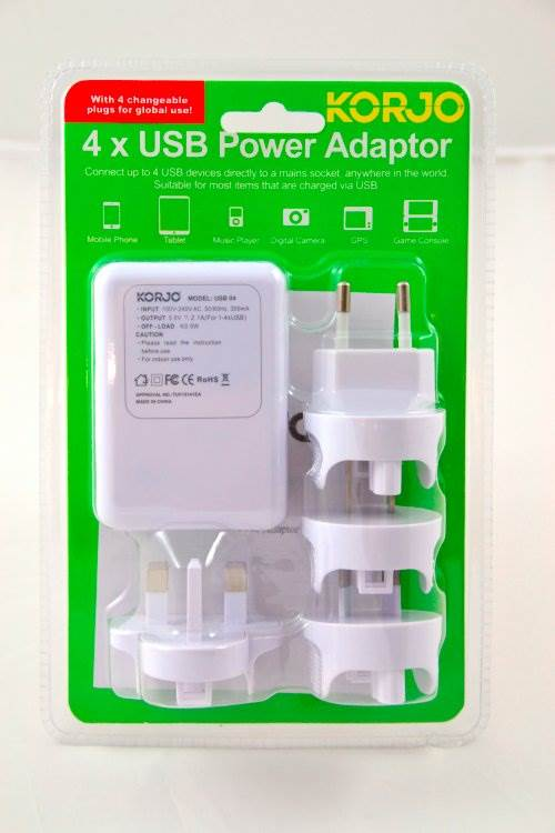 International USB Travel Adaptor : 4 USB Ports with Interchangeable Power Plugs : Korjo