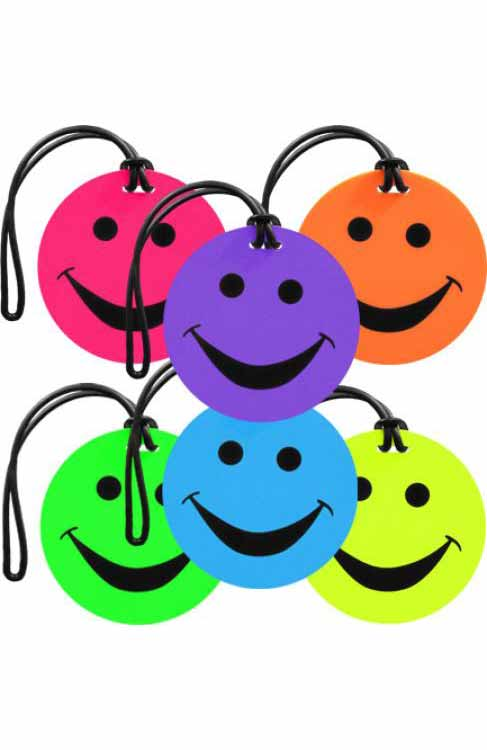 Smiley Face Luggage Tags : 6 Colours