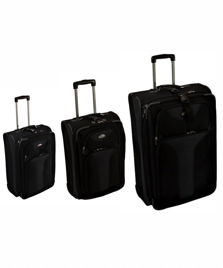"Sunland Luggage : Bundle : 21"" / 25"" / 28"" - Black : Ricardo"