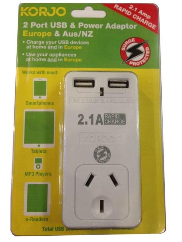 Korjo 2 Port Usb And Power Adaptor Europe And Australia