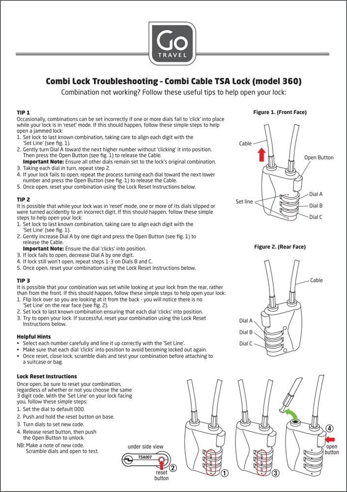 Go Travel Combination Cable TSA Lock Twin Pack