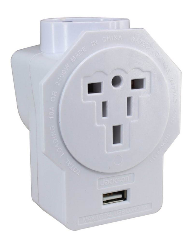 Inbound Au Travel Adaptor With Usb Outlet Suits Euro Usa And Uk Plugs Jackson By Jackson