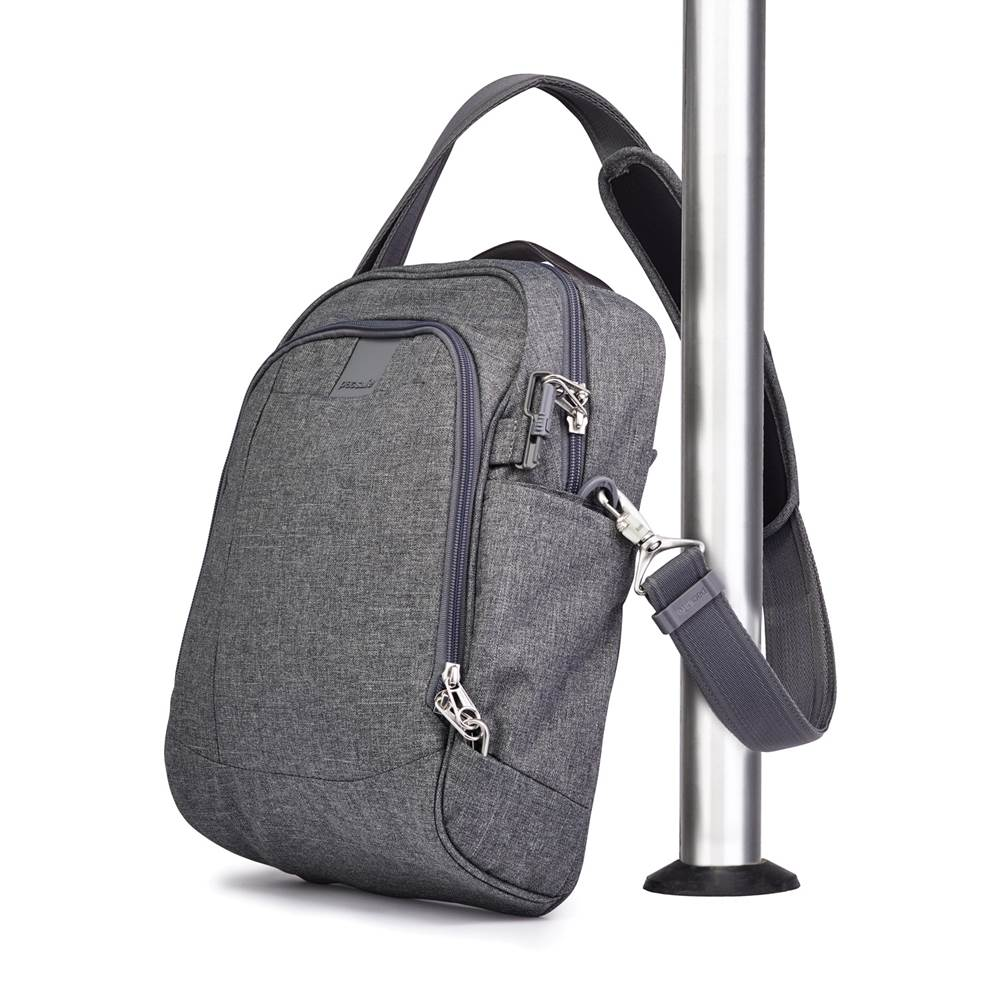 e599cbd92 ... Pacsafe Metrosafe LS250 Anti-Theft Shoulder Bag - Dark Tweed; Rear  zippered pocket; Turn & Lock security ...
