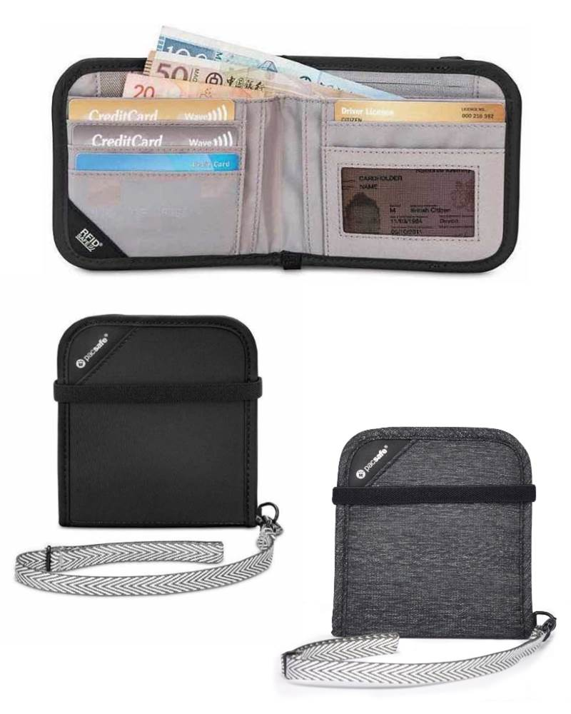 06cf34843934 Pacsafe RFIDsafe V100 - Anti-theft RFID Blocking Bi-Fold Travel Wallet