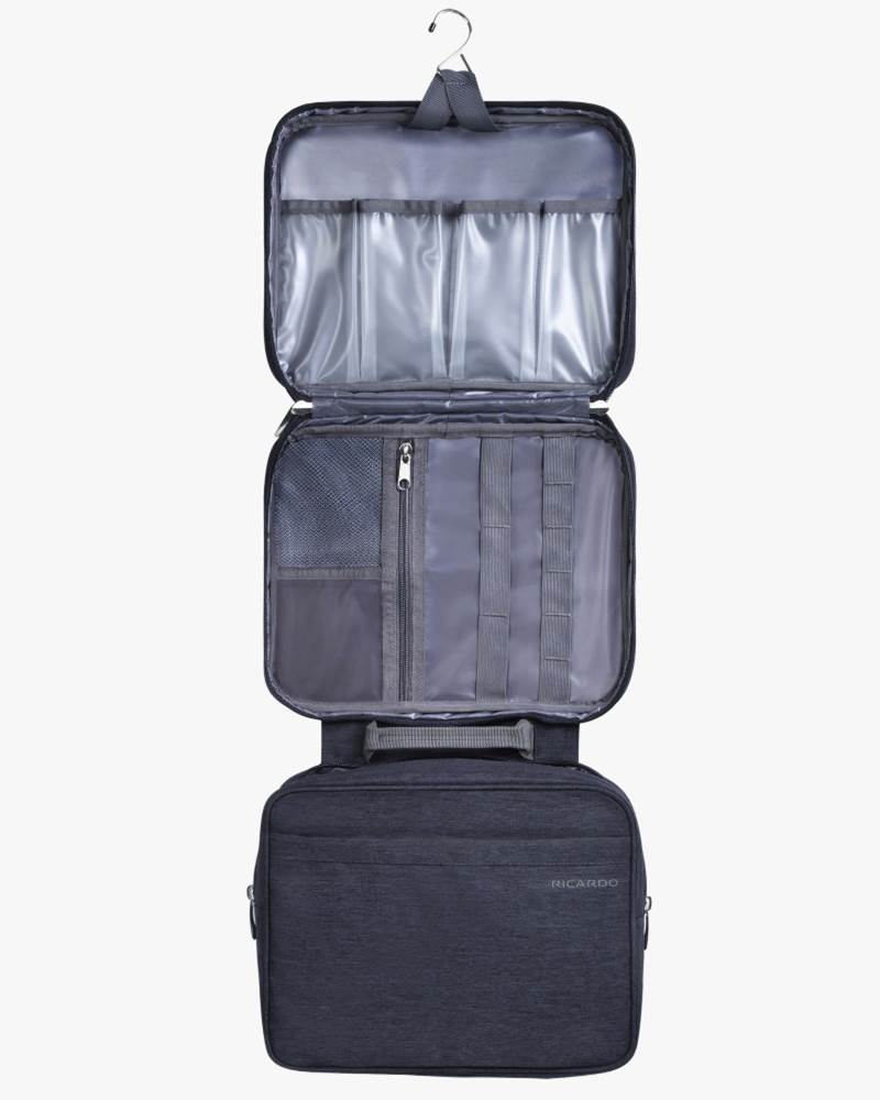 4d5dc5adf1 ... Ricardo Essentials 2.0 Deluxe Travel Organiser - Hanging Toiletry Kit -  Black · Two liquid-resistant PVC-lined compartments ...