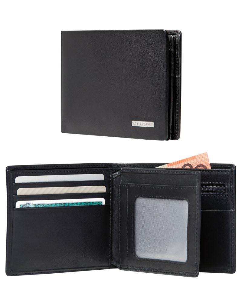 402aae9bd8 DLX Leather Wallet - ID and Coin Pocket with 7 RFID Credit Card Slots -  Black