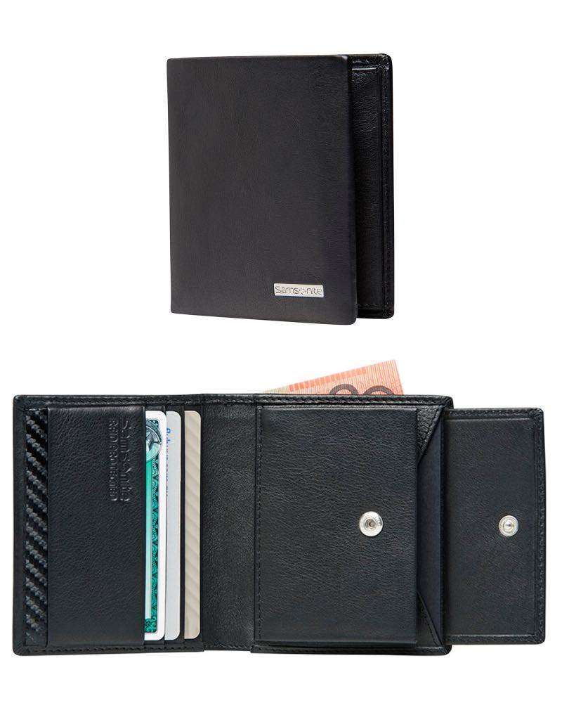 34a6ef598b DLX Leather Wallet - Slimline with Coin and 3 Credit Card Slots - Black
