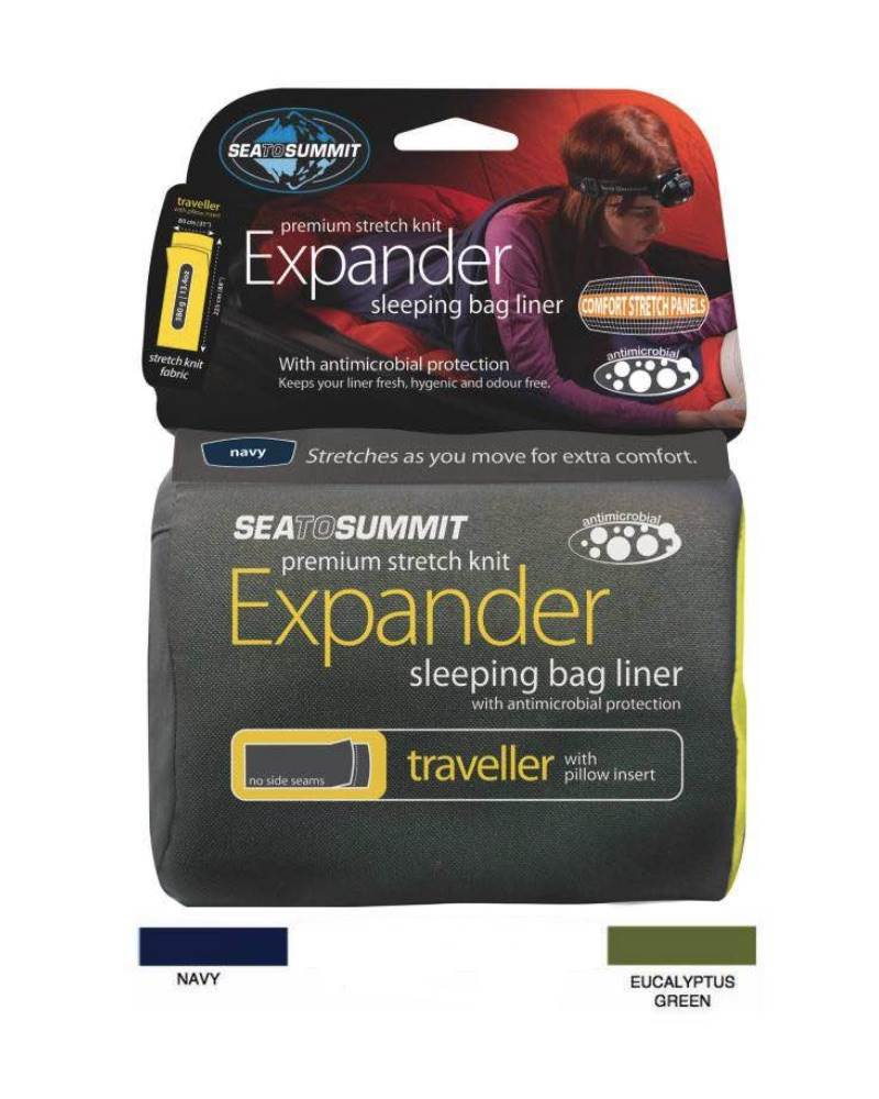 Sea to Summit Expander Sleeping Bag Liner - Stretch Poly-Cotton - Traveller  with Pillow Insert