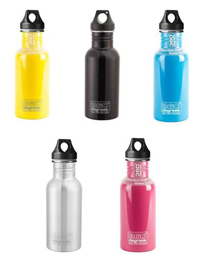 360 Degrees Stainless Steel Drink Bottle Medium 550 ml Stainless Steel by  360 Degrees Travel & Outdoor Gear (360SSB550)